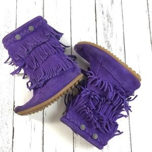 Minnetonka Purple Suede Leather Fringe Boots SZ 11